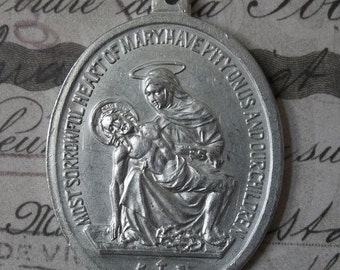 CLEARANCE Very Large Vintage Pieta Sorrowful Heart Of Mary Catholic Medal With Saint Joseph Protector Of Fathers, Carpenters, Workers & Craf