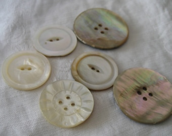 Lot of 6 VINTAGE Iridescent Shell Sew Thru BUTTONS