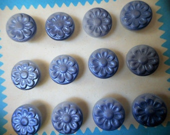 Set of 12 VINTAGE Blue Tint Flower on White Glass BUTTONS