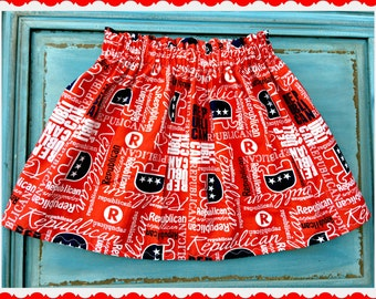 Girls patriotic skirt political election year 2T 3T 4T 5T 4/5 6/6x 7/8 10/12 and 14/16 Ready to Ship