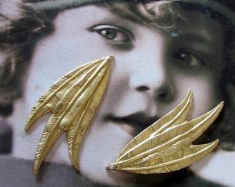 Raw Brass Leaf Stampings Charms 640RAW x2