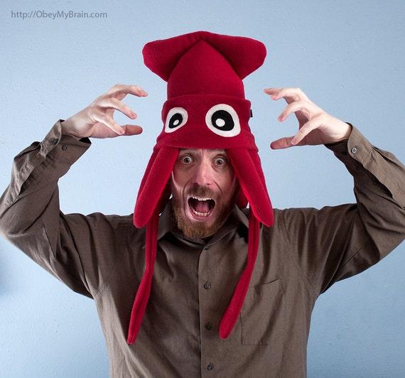Squid Hat Plush Fleece Medium Dark Red