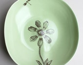 one large organic bowl in pale grass glaze with cosmos and dragonfly