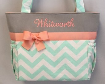 Personalized TOTE ... MINT Chevron ... Light CORAL and Gray Accents ... Diaper Bag ... Bottle Pockets ...  Monogrammed  FReE