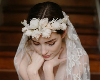 Blush wedding flower crown, French lace bridal veil - Heart and Soul no. 2161