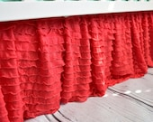 Coral Ruffle Crib Skirt - Baby Nursery Bedding Dust Ruffle - Girls Ruffle Decor Baby Room Decor - Cottage Chic Bedskirts Designer Bedding