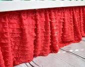 Coral Crib Skirt Nursery Bedding - Coral Ruffle Crib Skirt - Baby Nursery Bedding - Long Crib Skirt - Girl Crib Skirt - Baby Bed Skirt