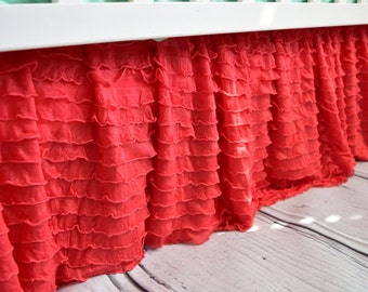 Coral Crib Skirt Nursery Bedding - Coral Ruffle Crib Skirt - Baby Nursery Bedding - Long Crib Skirt - Girl Crib Skirt - Baby Bed Skirt