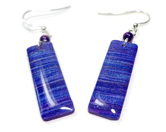 Purple Striped Dangle Earrings- polymer clay jewelry- Resin earrings- Polymer Clay Earrings- Ready to Ship- Gifts for Her