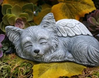 Chihuahua Angel Statue - Long Haired Chihuahua - Long Coat Chi Memorial Sculpture - Garden Decor