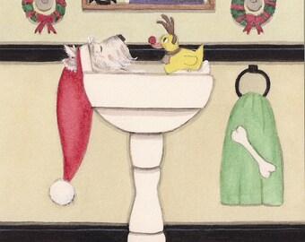 12 Christmas cards: West high terrier (westie) fills sink for holiday bath / Lynch folk art