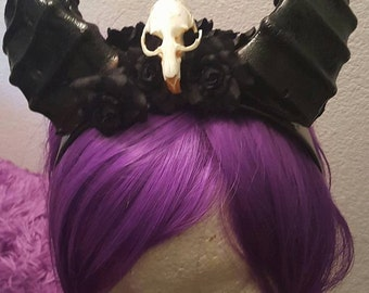 Maleficent horns, horns, Black horns, Skull, Skull horns, Satyr horns, Ren fair, Horn headdress, Headdress, Halloween, MsFormaldehyde