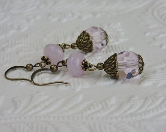 Fancy drop Pink earrings