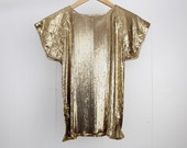 Whiting and Davis metal mesh top |  vintage gold metal mesh blouse | S