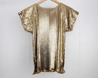 Whiting and Davis metal mesh top |  vintage gold metal mesh blouse | S