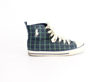size 7 | Vintage Ralph Lauren Canvas Sneakers | Polo High Top Shoes | Plaid Punk High Tops | 37.5