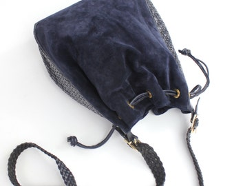 vintage navy woven leather bucket bag |  suede and woven leather drawstring bag
