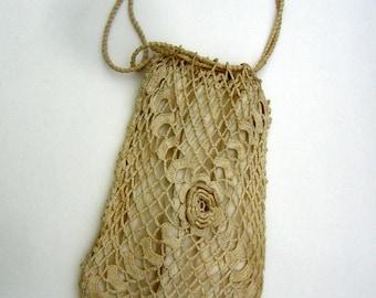 Antique Handbag Purse Edwardian / Victorian Bridal Reticule Bag Ivory IRISH Crochet ca. 1900