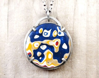 Fordite jewelry, fordite necklace, metalsmith, gift for her, gift for wife, girlfriend gift, Detroit Agate necklace, statement necklace