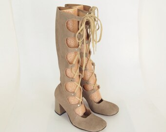 60s Faux Suede Gladiator Lace-up Boots by Thom McAn