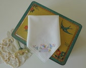Vintage Handkerchief Wedding Hankie Hand Embroidered Crinoline Lady English Garden - EnglishPreserves