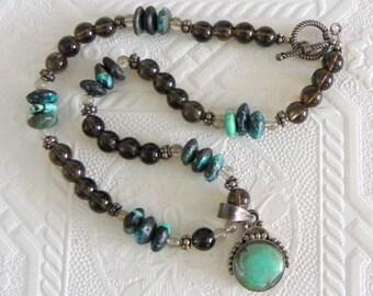 Turquoise Smokey Quartz Sterling Silver Pendant Necklace