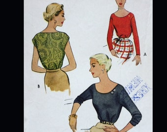 Vintage 50s Audrey Bateau Classic EASY Pullover Blouse Sewing Pattern 8263 B28 1/2