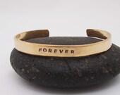 Bronze Anniversary Bracelet - Hammered Bronze Cuff - Forever Bracelet - Personalized cuff - 8 Year Anniversary Gift