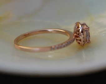 Rose Gold Engagement ring. Smokey Peach Sapphire ring. 1.05ct cushion sapphire 14k rose gold diamond ring. Engagement Rings by Eidelprecious
