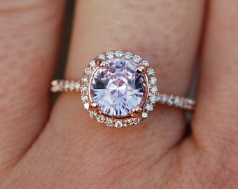 Rose gold engagement ring Color change sapphire diamond ring 14k rose gold round sapphire