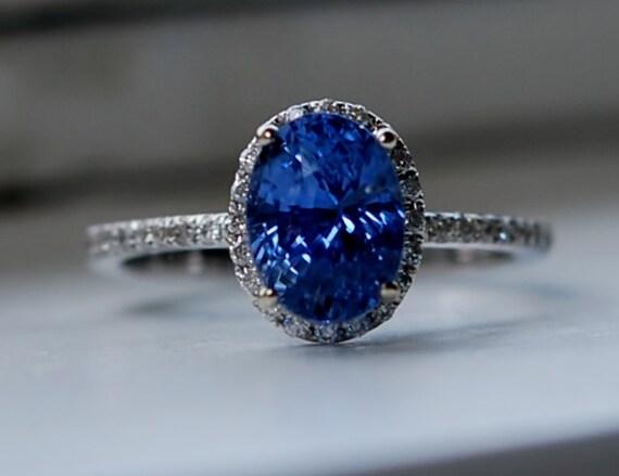 on hold till Apr 28th - 3.07ct Cornflower blue sapphire diamond ring 14k white gold engagement ring
