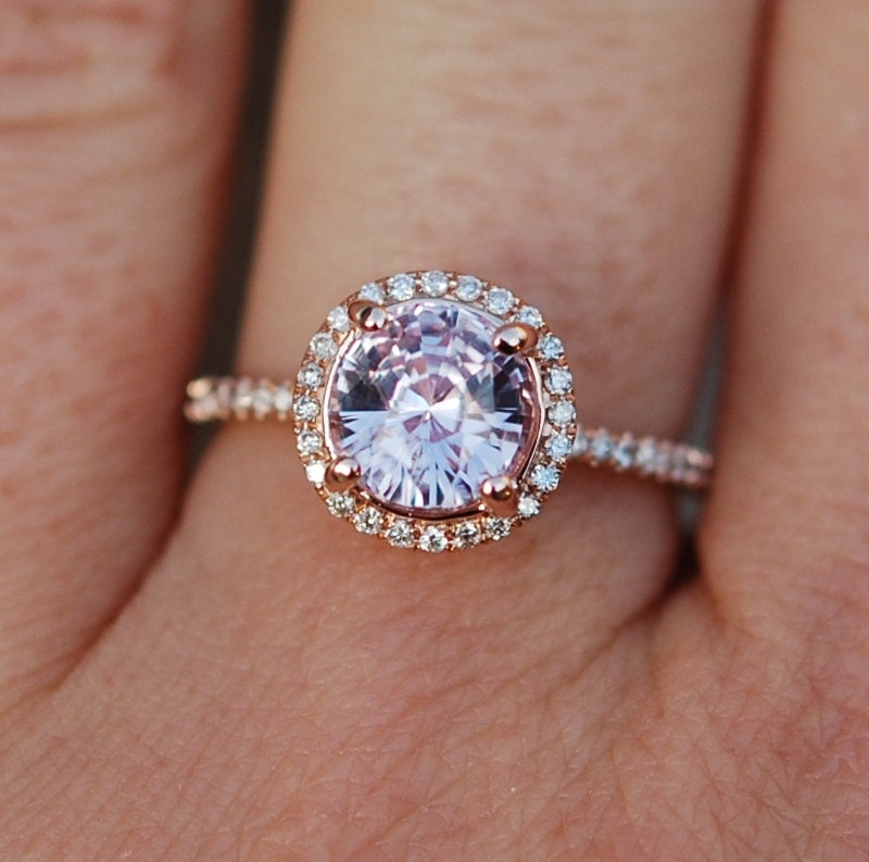 Rose Gold Engagement Ring Color Change Sapphire Diamond Ring