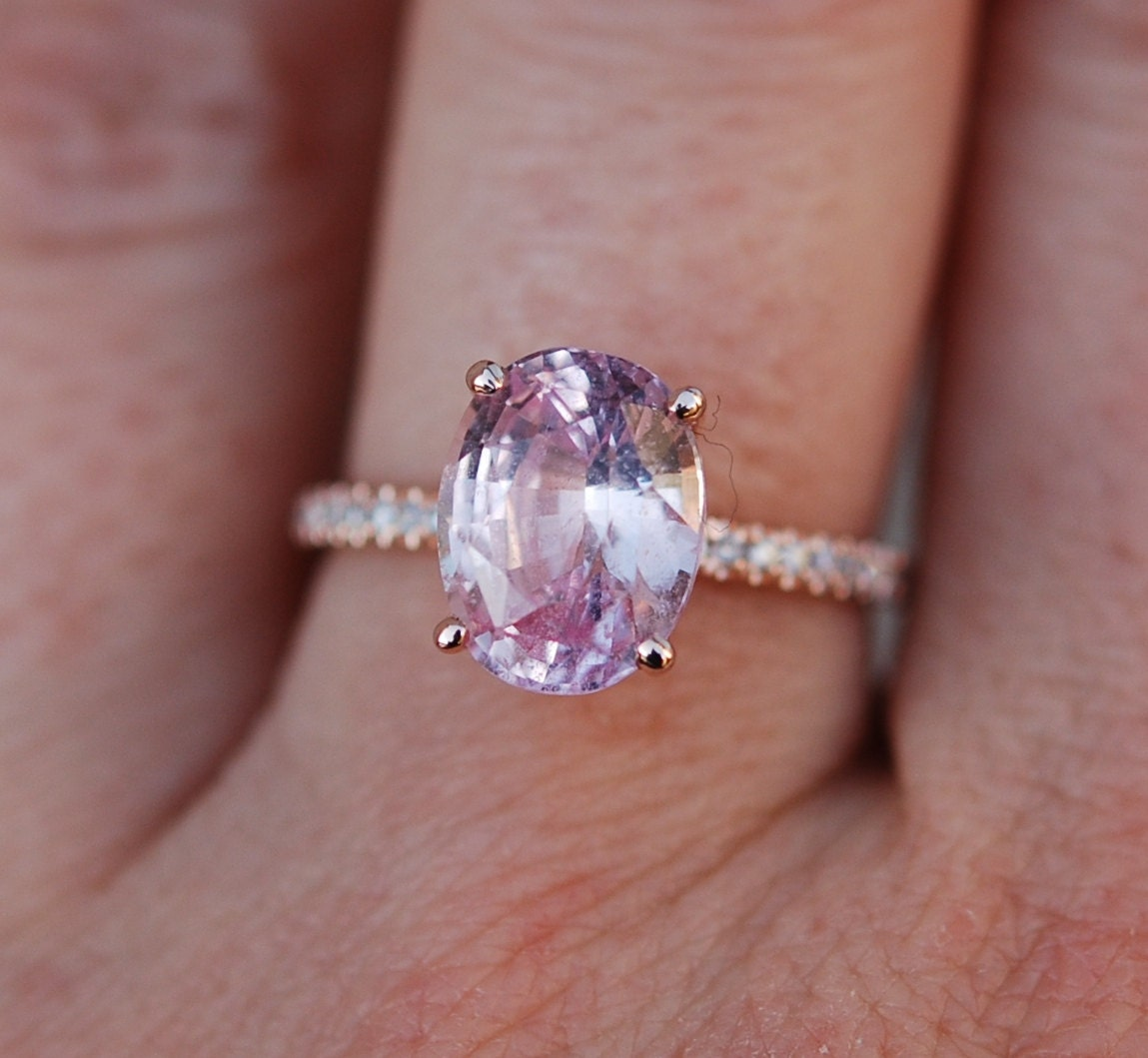 blake lively ring peach pink sapphire engagement ring oval cut. Black Bedroom Furniture Sets. Home Design Ideas