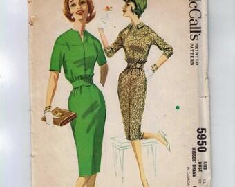 1960s Vintage Sewing Pattern McCalls 5950 Misses Slim Skirt Dress with Belt Size 12 Bust 32 60s 1961 UNCUT