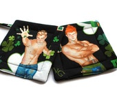 Quilted  Pot holders Hot Irish Hunks set of 2 Black St Patrick's Day Ireland Irish