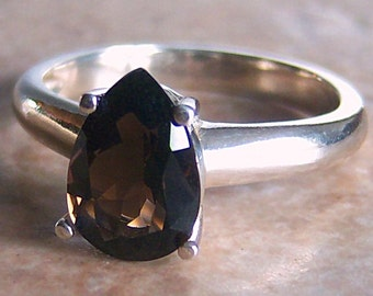 Genuine Pear Smoky Quartz Sterling Silver Ring, Cavalier Creations
