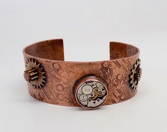 Mixed metal jewelry cuff bracelet.Steampunk jewelry cuff bracelet.Steampunk bracelet