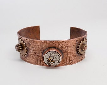Steampunk copper cuff.