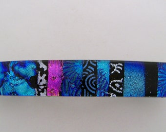 Large Dichroic glass hair barrette.