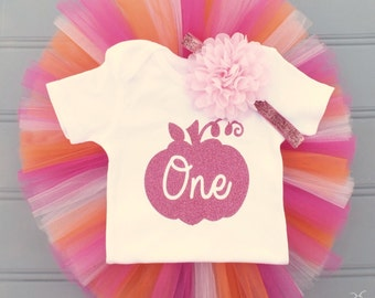 Pink Pumpkin First Birthday Outfit Girl, Cake Smash Outfit Girl, 1st Birthday Outfit Girl, 1st Birthday Tutu, First Birthday Tutu Skirt Set