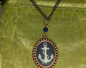 Navy Blue Anchor Cameo Necklace, in silver setting