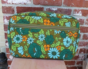 Vintage Floral Japanese overnight bag, little suitcase, green, blue, orange.  Retro, Hippie carry on bag