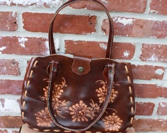 Wabags tooled leather handbag, purse.  Country, bohemian