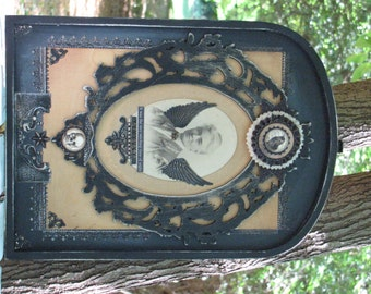 Vintage Framed Altered Antique Photo Witch Rosette Hanging Tombstone Halloween