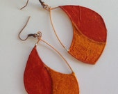 Light weight paper and copper earrings- Orange and red