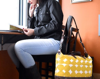 Laptop Bag / Diaper Bag / Leather Travel Bag / Handprinted Bagl / Large Zippered Bag / Carryon Luggage / Work Bag / Crossbody travel bag