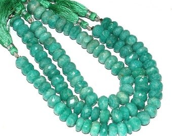"""55% Sale 3x8"""" Strand 7-7.5mm 138 Pcs Finest Quality Natural Brazilian Amazonite Faceted Rondelle Beads Semiprecious Gemstone Beads"""
