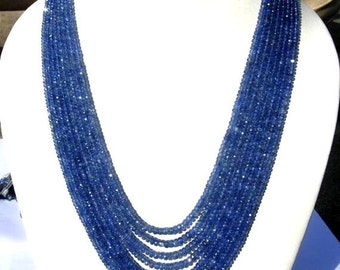 55% OFF SALE 8 strands Necklace of Super Finest Quality Burma Blue Sapphire Faceted Rondelles Size 3 to 5mm Length 16 - 20 Inc