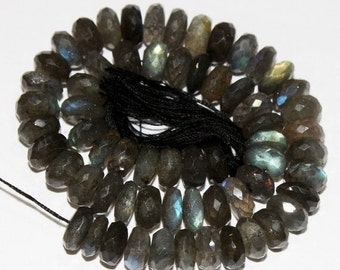 "55% OFF SALE Full 10"" Strand 7-7.5mm Natural Labradorite Micro Faceted Rondelle Beads Finest Quality wholesale price"