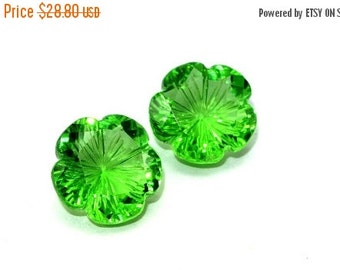 55% OFF SALE 2Pcs Matched Pair - AAA Peridot Green Quartz Carved Flower Briolette Size 13x13mm High Quality Extremely Beautiful Great Price